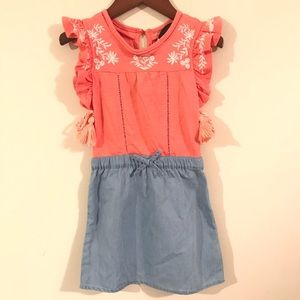 Joe's Jeans pink Chambray embroidered print dress